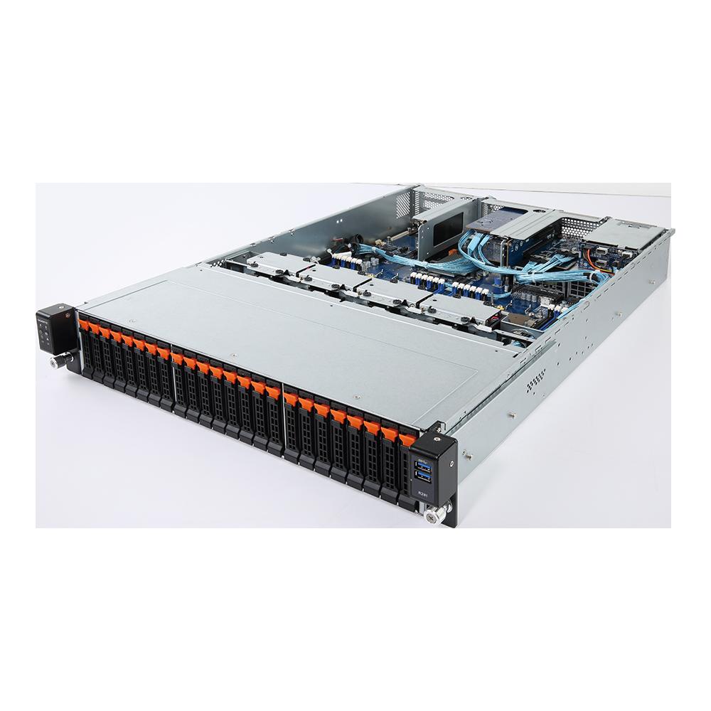 Gigabyte 2U Server, 24x 2.5 inch NVME bays, 2x Intel Silver 4210, 2x 16GB, 1x 240GB SSD, 2x GbE LAN, 2x 40/56Gb Infiniband, Redundant PSU