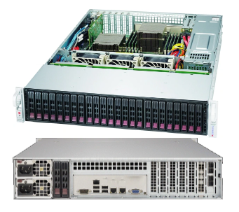 Supermicro 2U Server, 24x 2.5 inch, 2x Intel Silver 4210, 2x 8GB, 2x 240GB SSD, Redundant PSU