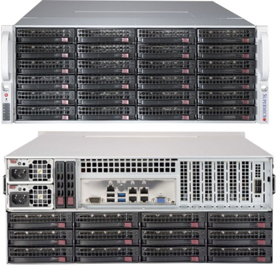 Supermicro 4U 36bay Server, 36x 4TB Storage, 2x Intel Xeon E5-2620v4, 8x8GB DDR4 memory, Dual GbE LAN, Redundant PSU
