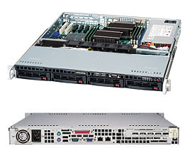 Supermicro 1U 4bay Server, 2x 4TB Storage, 1x Intel Xeon E5-1650v4, 2x8GB DDR4 memory, Dual GbE LAN, Single PSU