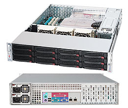 Supermicro 2U 12bay Server, 4x 4TB Storage, 1x Intel Xeon E3-1270v6, 2x8GB DDR4 memory, Dual GbE LAN, Redundant PSU