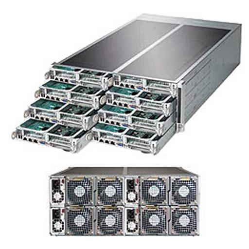 "Supermicro 4U Eight Node 16x 3.5"" Fixed Drive Bays SuperServer Barebone F618R3-FT+"