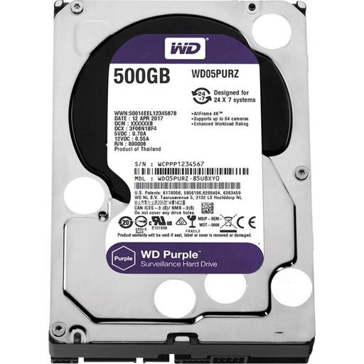 """WESTERN DIGITAL WD Purple 500 GB 3.5"""" Internal Hard Drive - SATA - 5400rpm - 64 MB Buffer"""