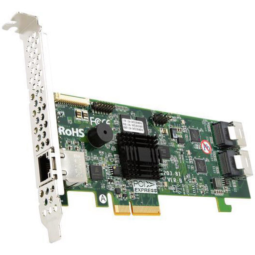 Areca 8 port 6Gb/s SATA PCIe 2.0 x4, RAID Card, 512MB Cache, 2x intern SFF-8087,LP