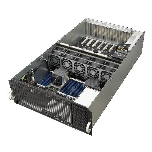 Asus 4U GPU Server, 8x 2.5 inch, 2x Intel Silver 4210, 4x 16GB, 2x 240GB SSD, 8x GPU nVidia RTX2080TI, Redundant PSU