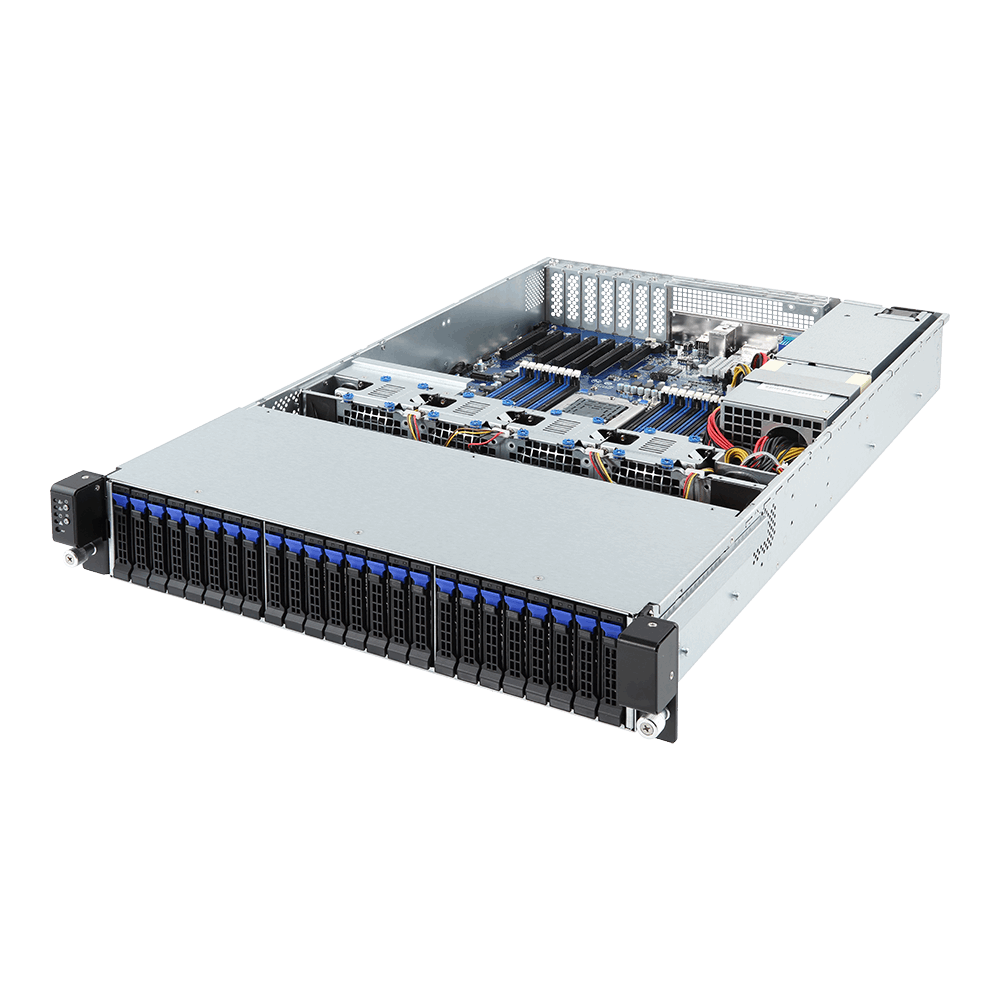 Gigabyte 2U Server, 24x 2.5 inch, 1x AMD EPYC 7351P, 2x 8GB, 1x 250GB SSD, 2x 10Gb/s SFP+, Redundant PSU