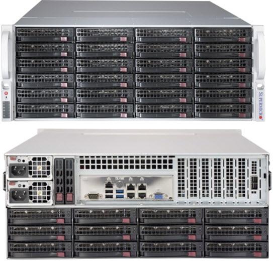 Supermicro 4U 36bay Server, 36x 4TB Storage, 2x Intel Xeon E5-2620v4, 8x8GB DDR4 memory, Dual GbE LAN, Redundant PSU