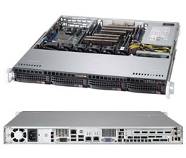 Supermicro 1U 4bay Server, 2x 4TB Storage, 1x Intel Xeon E3-1270v6, 1x8GB DDR4 memory, Dual GbE LAN, Single PSU