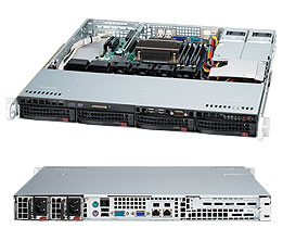 Supermicro 1U 4bay Server, 2x 4TB Storage, 1x Intel Xeon Gold 6136, 2x8GB DDR4 memory, Dual GbE LAN, Redundant PSU