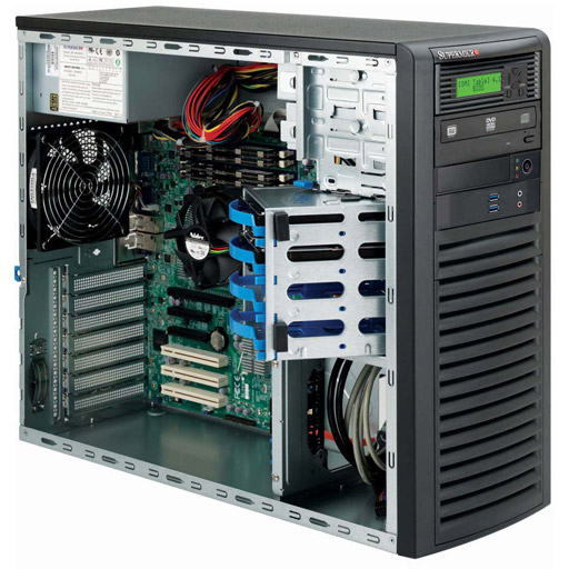 """Super Micro Tower 4x 3.5"""" Fixed Drive Bays SuperChassis 732D3-1200B"""