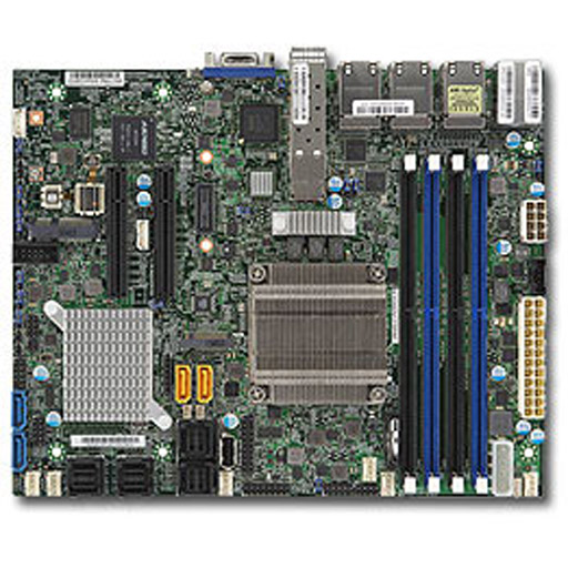 Supermicro Mainboard Flex-ATX Intel XEON, 4x DDR4 max 128GB, 2x PCIe, IPMI, 6x GbE, 2x 10GbE SFP+, 4x SATA, 4x SAS2, 1x M.2