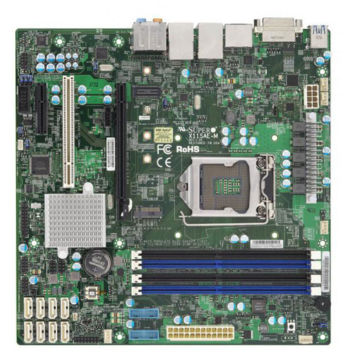 Supermicro Mainboard Micro-ATX 1x LGA1151, 4x DDR4 max 64GB, 2x PCIe, 1x PCI, 2x GbE, 8x SATA