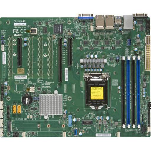 Supermicro Mainboard ATX 1x LGA1151, 4x DDR4 max 64GB, 3x PCIe, IPMI, 4x GbE, 6x SATA