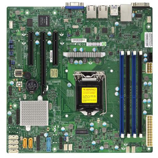 Supermicro Mainboard Micro-ATX 1x LGA1151, 4x DDR4 max 64GB, 3x PCIe, 2x GbE, 6x SATA