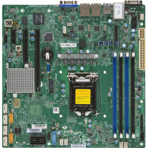 Supermicro Mainboard Micro-ATX 1x LGA1151, 4x DDR4 max 64GB, 3x PCIe, IPMI, 2x GbE, 6x SATA