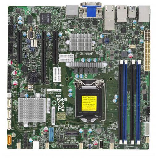 Supermicro Mainboard Micro-ATX 1x LGA1151, 4x DDR4 max 64GB, 3x PCIe, IPMI, 2x GbE, 2x 10GbE, 4x SATA