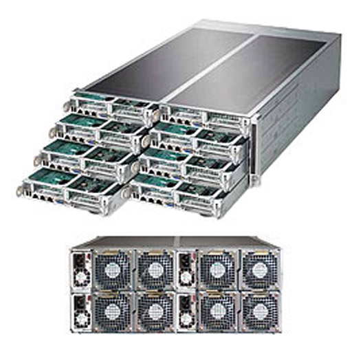 "Supermicro 4U Eight Node 16x 3.5"" Fixed Drive Bays SuperServer Barebone F618R3-FT+"