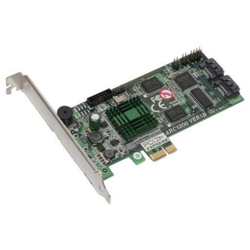 Areca PCI-Express x1 RAID Controller, 2x SATA-II, RAID 0/1/JBOD, 500Mhz CPU