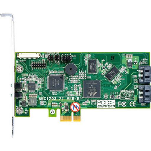 Areca PCIe x1 CONTROLLER, 2X 6GB/S SATA, RAID 0/1, 512MB Cache, 1Ghz CPU, LP