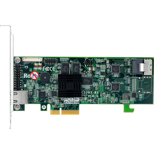 Areca 4 port 6Gb/s SATA PCIe 2.0 x4, RAID Card, 512MB Cache, 1x intern SFF-8087,LP