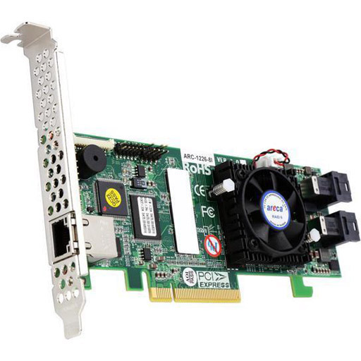 Areca 8 port 12Gb/s SAS PCIe x8 RAID Card, 1GB Cache, 2x intern SFF-8643, LP