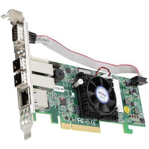 Areca 8 port 12Gb/s SAS PCIe x8 RAID Card, 1GB Cache, 2x extern SFF-8644, LP