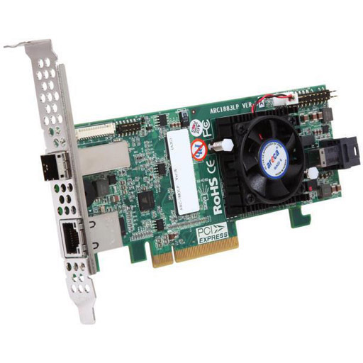 Areca 8 port 12Gb/s SAS RAID PCIe x8 Card, Dual Core ROC,2GB Cache, 1x int./1x ext.