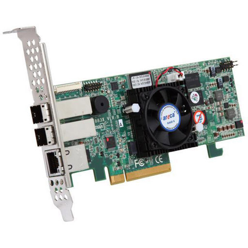 Areca 8 port 12Gb/s SAS RAID PCIe x8 Card, Dual Core ROC,2GB Cache,2x SFF-8644,LP