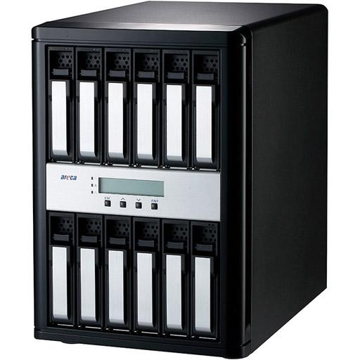 Areca Desktop RAID, 12x 12Gb/s SAS HDD's 2x SFF-8644 Host, 1x SFF-8644 Exp., 400W