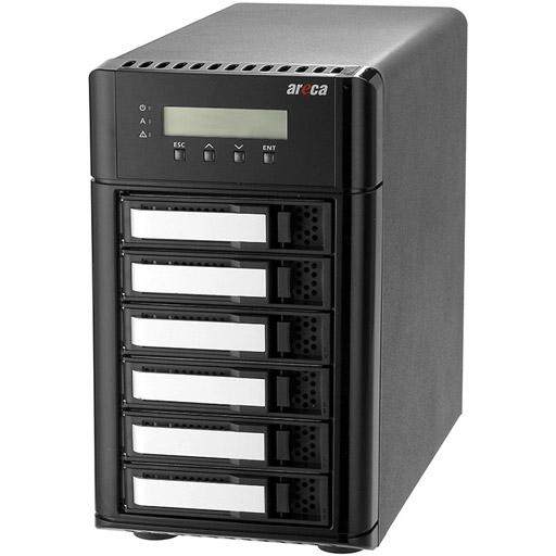 Areca Desktop RAID, 6x 12Gb/s SAS HDD's, 2x40Gb/s Thunderbolt 3,SAS Exp.,180W PSU