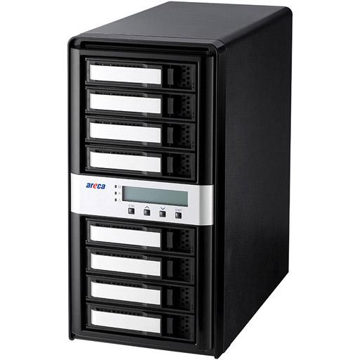 Areca Desktop RAID, 8x 12Gb/s SAS HDD's, 2x40Gb/s Thunderbolt 3, 270W PSU