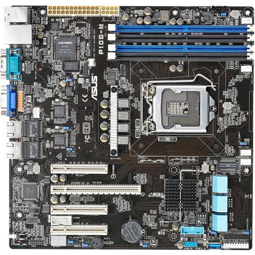 ASUS moederbord P10S-M Micro-ATX LGA1151, 1CPU, 4x DDR4 max 64GB ECC, 4x PCIe, ASM-iKVM, 2x GbE, 6x SATA