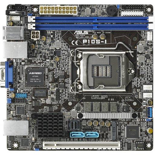 ASUS moederbord P10S-I Mini-ATX LGA1151, 1CPU, 2x DDR4 max 32GB ECC, 1x PCIe, ASM-iKVM, 2x GbE, 6x SATA, 1x M.2 SATA