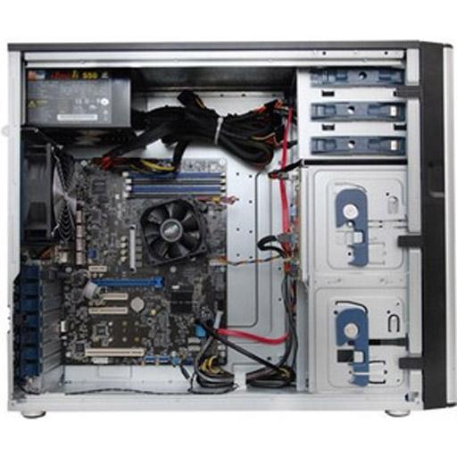 ASUS Barebone TS300-E9-PS4 Tower, 4x 3.5inch Hot-swap, 1x LGA1151, 4x DDR4 max 64GB, ASM-iKVM, 4x GbE, 4x PCIe, 8x SATA, 2x M.2, Single PSU