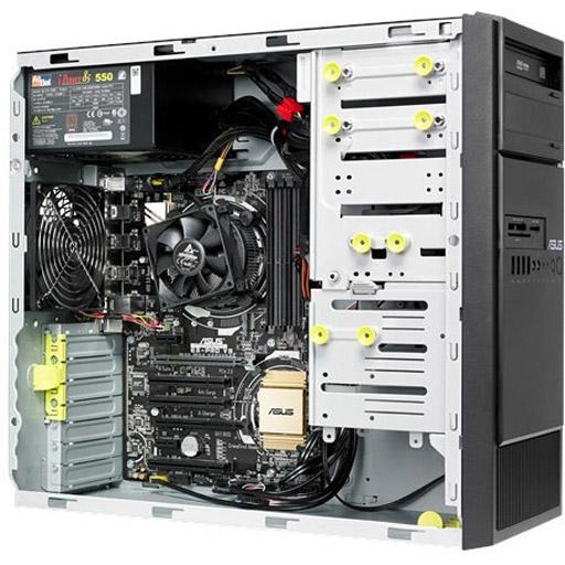 ASUS Barebone ESC300 G4 Tower, 3x 3.5inch, 1x 2.5inch, 1x LGA1151, 4x DDR4 max 64GB, 1x GbE, 4x PCIe, 3x PCI, 6x SATA, 1x M.2, Single PSU