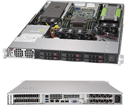Supermicro 1U GPU Server, 6x 2.5 inch, 1x Intel Silver 4110, 1x 8GB, 1x 240GB SSD, 1x GPU nVidia P40, Redundant PSU