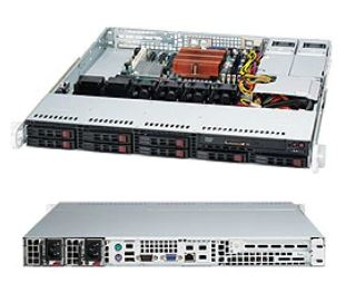 Supermicro 1U Server, 8x 2.5 inch, 1x Intel Xeon E3-1230 v6, 1x 8GB, 1x 240GB SSD, Redundant PSU