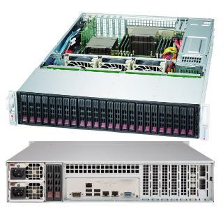 Supermicro 2U Server, 24x 2.5 inch, 2x Intel Silver 4210, 1x 8GB, 1x 240GB SSD, Redundant PSU