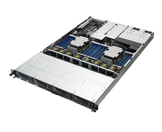 Asus 1U Server, 4x 3.5 inch, 2x Intel Silver 4110, 1x 8GB, 1x 250GB SSD, Redundant PSU