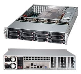 Supermicro 2U Server, 12x 3.5 inch, 4x NVME, 2x Intel Silver 4214, 4x 8GB, 1x 250GB M.2, Redundant PSU